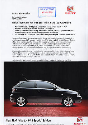 SEAT Ibiza 1.4 DAB Special Edition Launch Press Release/Photographs - 2006