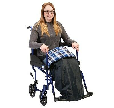 Warm Navy Padded Wheelchair Showerproof Leg Cosy Blanket With Straps