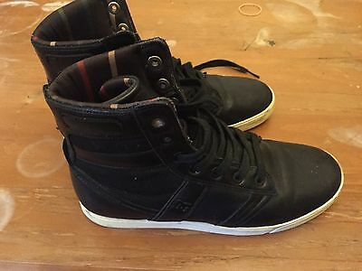 DC Admiral Shoes US9 UK8 Eur42 Black Leather Cream Sole Skate High Top