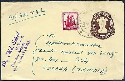 India, 20nP Pre-stamped Envelope, to Zambia, with added 5nP and 1R. surcharge