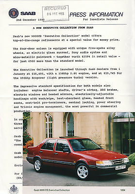 Saab 9000 CD 'Executive Collection' Special Edition Press Release/Photo - 1994
