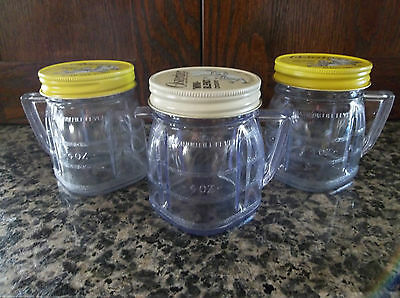 Lot of 3 Vintage OSTERIZER MINI-BLEND 4 OUNCE CONTAINERS