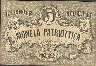 ITALY 5 LIRA  1848r GREAT  OLD BANKNOTES