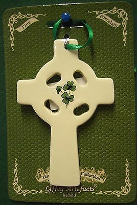 Ireland Fine Porcelin Irish Celtic Cross Flat Hanging Ornament