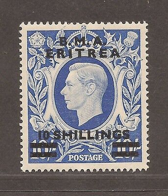 1939 To 1948 Occupation Of Bma Eritrea Overprints 10 Shillings Stamp Mh
