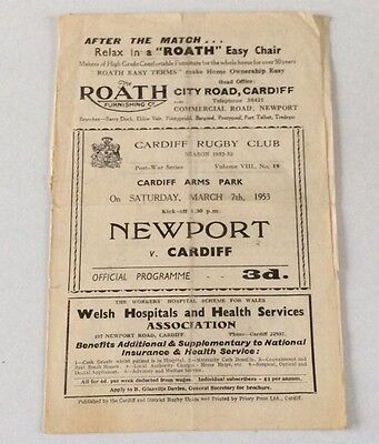 NEWPORT RFC v CARDIFF RFC MARCh 7th 1953 OFFICIAL PROGRAMME POOR CONDITION.