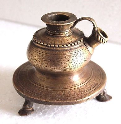 1850s ANTIQUE ORIGINAL BRASS HAND CARVED ISLAMIC MUGHAL HEAVY HOOKAH POT