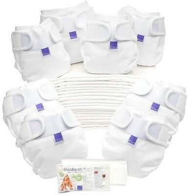 Bambino Mio Miosoft Reusable Birth Baby Nappies Covers Potty Pack White One Size