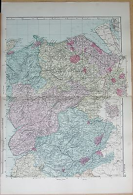 1891 Large Victorian Map - Wales North East Mold Bangor Montgomery Denbeigh