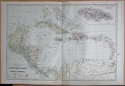 1882 Large Antique Map - The West India Islands And Central America