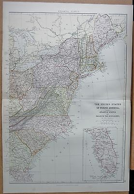 1882 Large Antique Map - The United States, Atlantic States, Valley Of Mississip