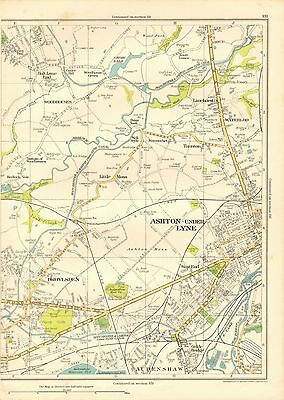 1935 Lancashire Original Map-Ashton Under Lyne, Waterloo, Audenshaw, Droylsden,