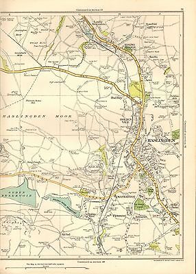 1935 Lancashire Original Map- Haslingden, Waterfoot, Rising Bridge, Acre, Flaxmo