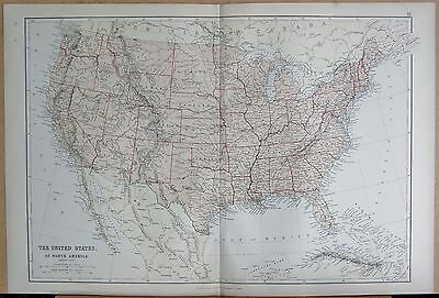 1882 Large Antique Map - The United States
