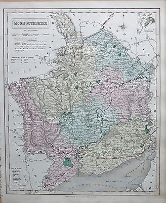 1845  Large Antique County Map - Railways, Monmouthshire Newport Usk Abergavenny