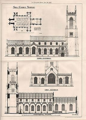 1881 Antique Architectural Print- Norfolk-Sall Church, Elevations, Section.plan