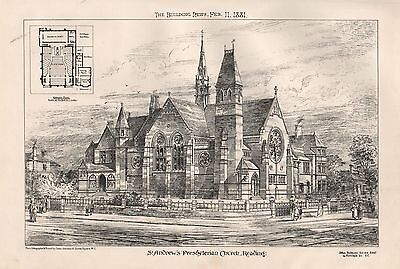 1881 Antique Architectural Print-St Andrew's Presbyterian Church, Reading