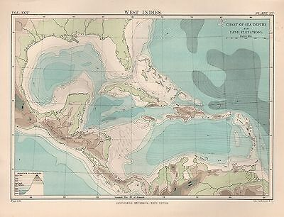 1898 Antique Map West Indies