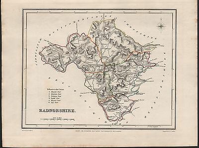1848 Antique County Map - Wales Radnorshire Kington Presteign Knighton