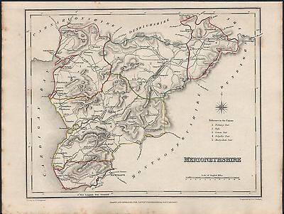 1848 Antique County Map - Wales Merionethshire Dolgelley Corwen Bala Harlech Bar