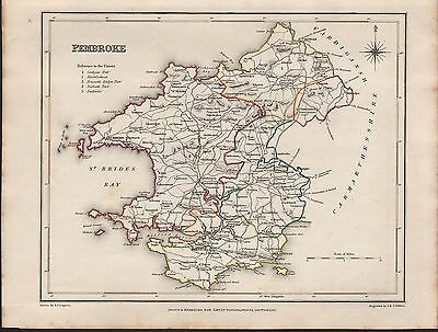 1848 Antique County Map - Wales Pembroke St Davids Tenby Haverfordwest Newport