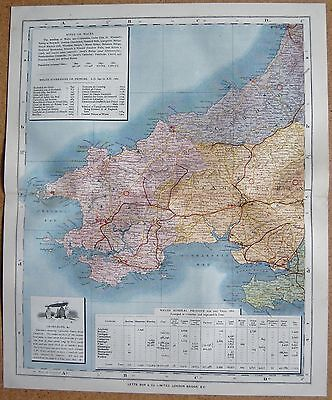 1884 Letts's County Map Wales, Pembroke Carmarthen, Cardigan