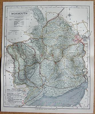 1884 Letts's County Map Monmouth