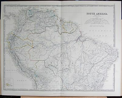 1875 Extra Large Antique Map - South America, Northern Section