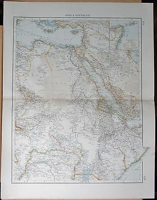 """1900 """"times""""  Large Antique Map - Africa North East Red Sea Sudan Arabia"""