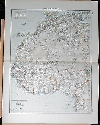 """1900 """"times""""  Large Antique Map - Africa North West Canary Islands Senegal Ashan"""