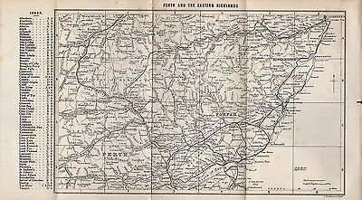 1890 Antique Map Scotland Perth And The Eastern Highlands Arbroath Stonehaven