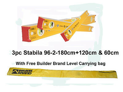 "STABILA LEVEL SET Ribbed Box Section Brick Layer Level Set 72"" 48"" 24""  STABILA"