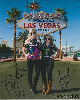 """Courtney Force + Brittany Force signed """"Welcome To Las Vegas"""" NHRA 8x10 Photo"""