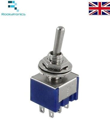 Miniature Toggle Switch DPDT ON-OFF-ON  6A 125V New High Quality Free Postage