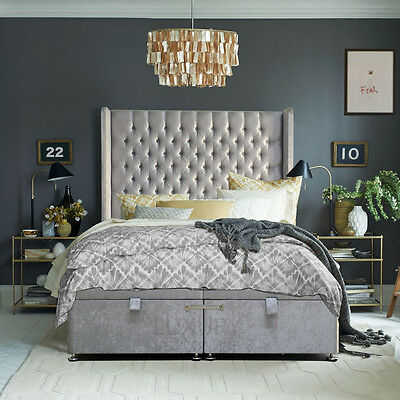 Highgate Chesterfield Bed - Storage Base and Wing Headboard - French bed design