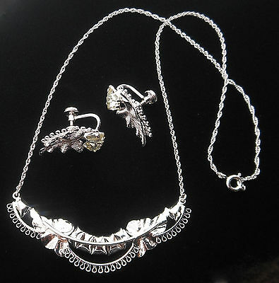 Vintage Sterling Silver Crystal Rhinestone Necklace and Earring Set By Star-Art