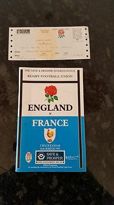 1991 England v France Rugby Programme and Ticket