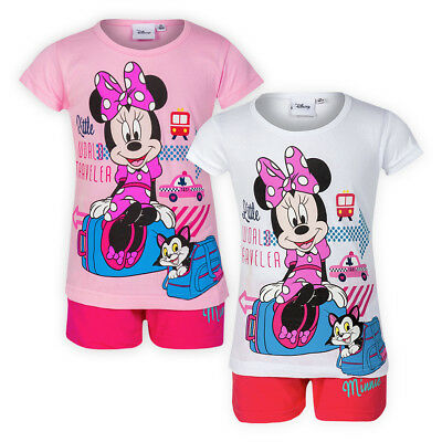 2 Piece Girls Disney Minnie Pyjama Set Cotton T-shirt Shorts Kids Pj Nightwear