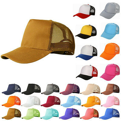 Mesh Baseball Cap Trucker Hat Blank Curved Visor Hat Adjustable Plain Color Cap