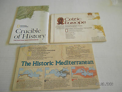 "3  Maps From  National Geographic Society.""celtic, Mediterranean, Crucible"""
