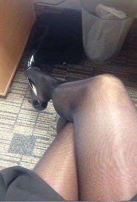 Secretary's 10 Denier Glossy Black Tights/pantyhose Pre Loved/owned
