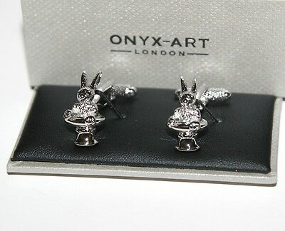 Novelty Mens Cufflinks - Magician Rabbit in Top Hat Design * New * Gift boxed