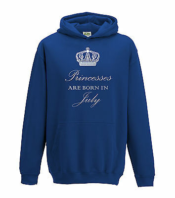 Juko Princesses Are Born In July Hoodie Girls Princess Hoody