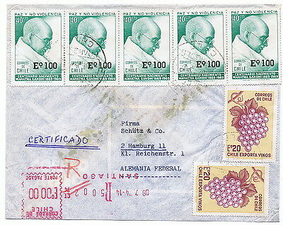 CHILE 1974 Gandhi registered airmail cover to GERMANY