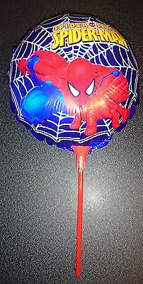 10 x Spiderman Foil Balloons With Sticks Boys Birthday Party decorations bag 356