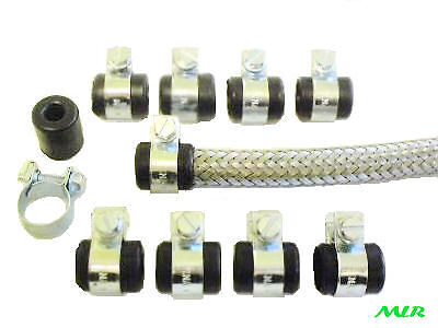 8Mm Stainless Steel Braided Fuel Hose Pipe Rubber Finishers & Clips Mlr.is