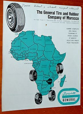 French 1970 General Tire African Ad - Vintage Africa Continent Illustration Pneu