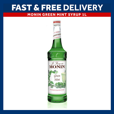 MONIN Coffee Syrups - GREEN MINT - 1L Plastic Bottle - USED BY COSTA COFFEE