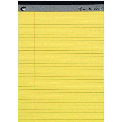 A4 Yellow Legal Executive Pad 8mm Ruled with Margin 100 Perforated Pages 60GSM