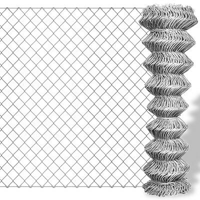 New Galvanised Chain Link Fence 15 x 0.8 m Weather-proof Corrosion-resistant